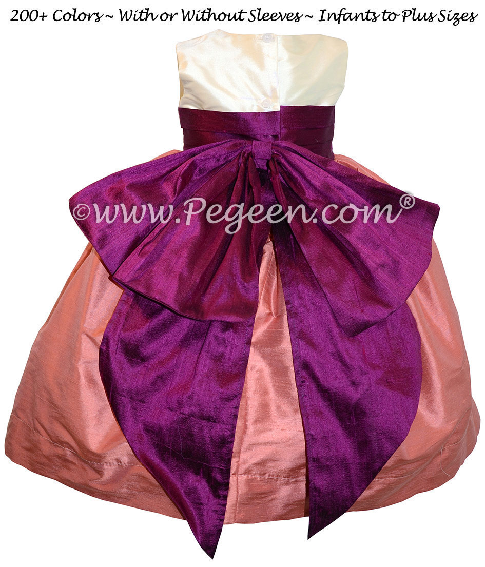 Coral Rose & Berry Silk Cinderella Style Bow FLOWER GIRL DRESSES