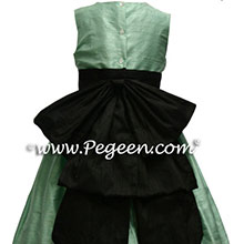 aqua and black flower girl dresses