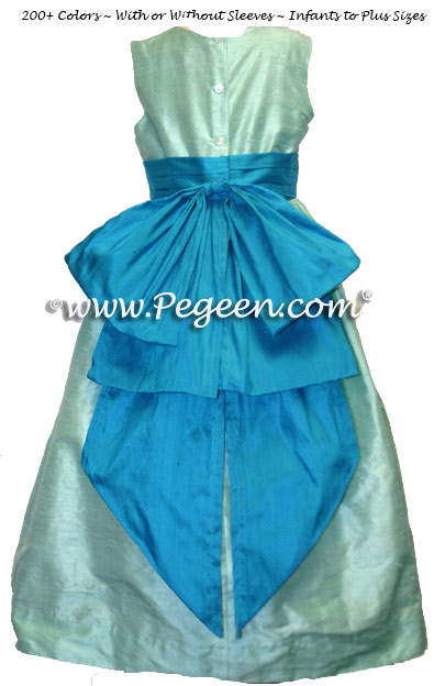 Teal shades in Tiffany and pool silk flower girl dress with Cinderella Bow