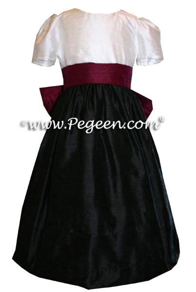 BLACK, WHITE AND EGGPLANT SILK FLOWER GIRL DRESSES