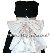 pink and  black flower girl dresses