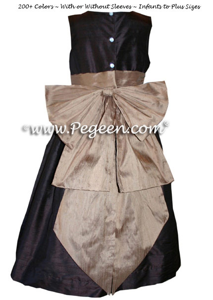 Flower girl dresses in Chocolate Brown and Antigua Taupe | Pegeen