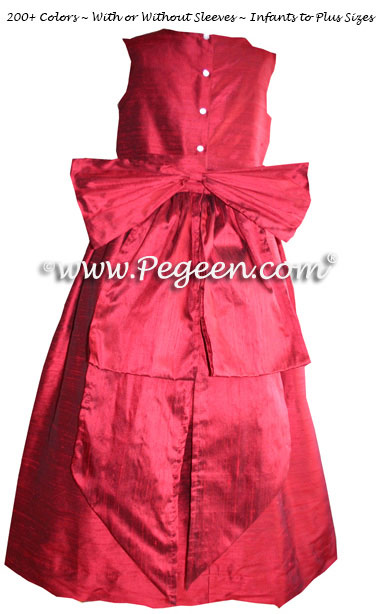 Claret red custom silk flower girl dresses