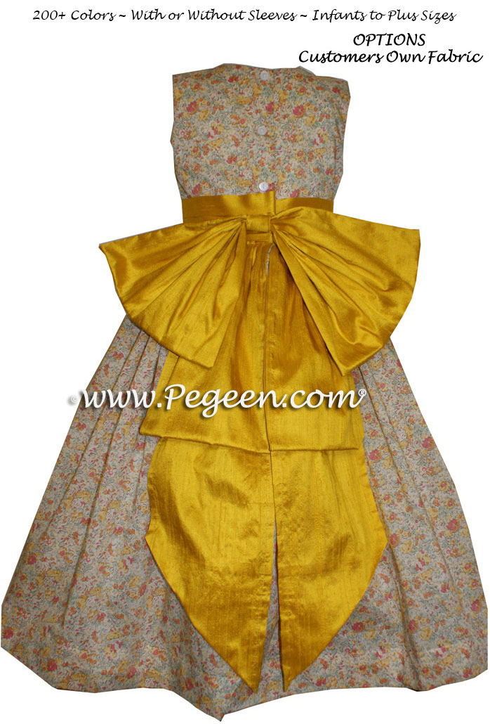 Goldenrod and Ivory Floral Cotton flower girl dresses with customers own fabric