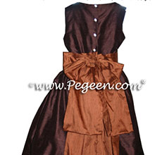 chocolate brown and ginger flower girl dresses
