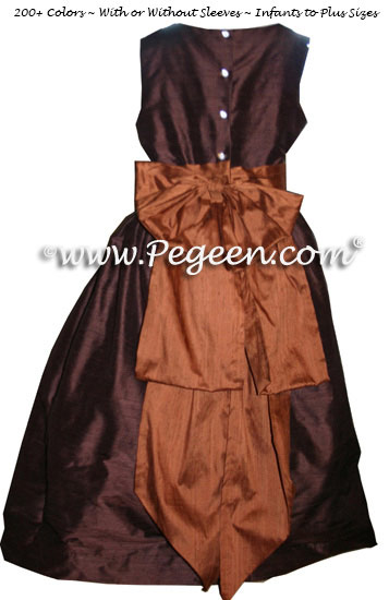 Ginger brown and chocolate silk flower girl dress with Cinderella Bow