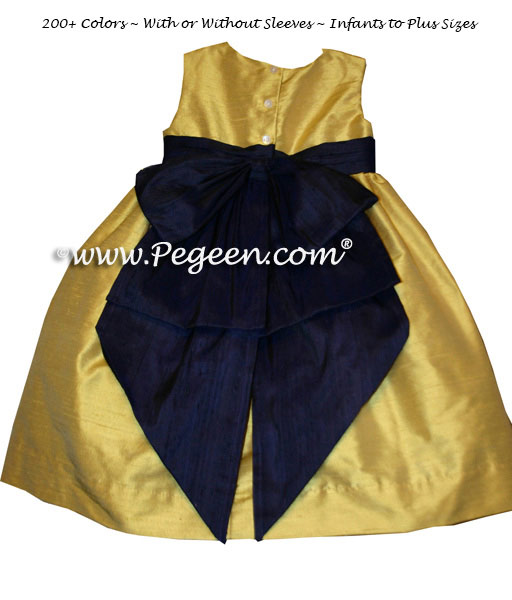 Mustard Yellow and Grape Toddler Flower Girl Dresses Style 345