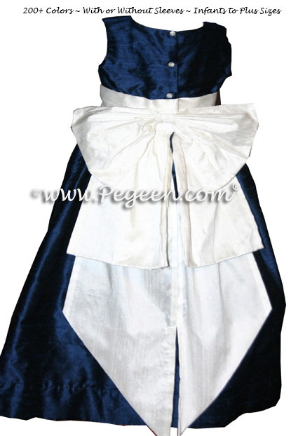 Navy Silk with antique white silk Flower Girl Dresses