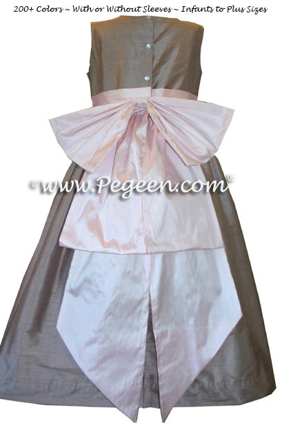 Pink and Taupe Silk Style 345 Flower Girl Dresses