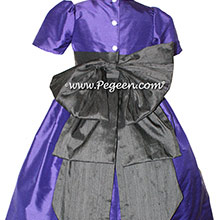 Deep Plum and Black flower girl dresses Style 345 by Pegeen