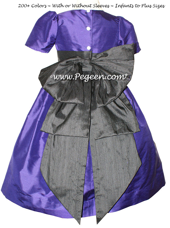 Flower Girl Dress in Deep Plum and Black Style 345 | Pegeen