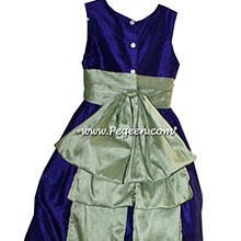 Deep Plum and Celedon Green flower girl dresses Style 345 by Pegeen