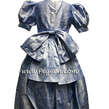 denim blue silk  flower girl dresses