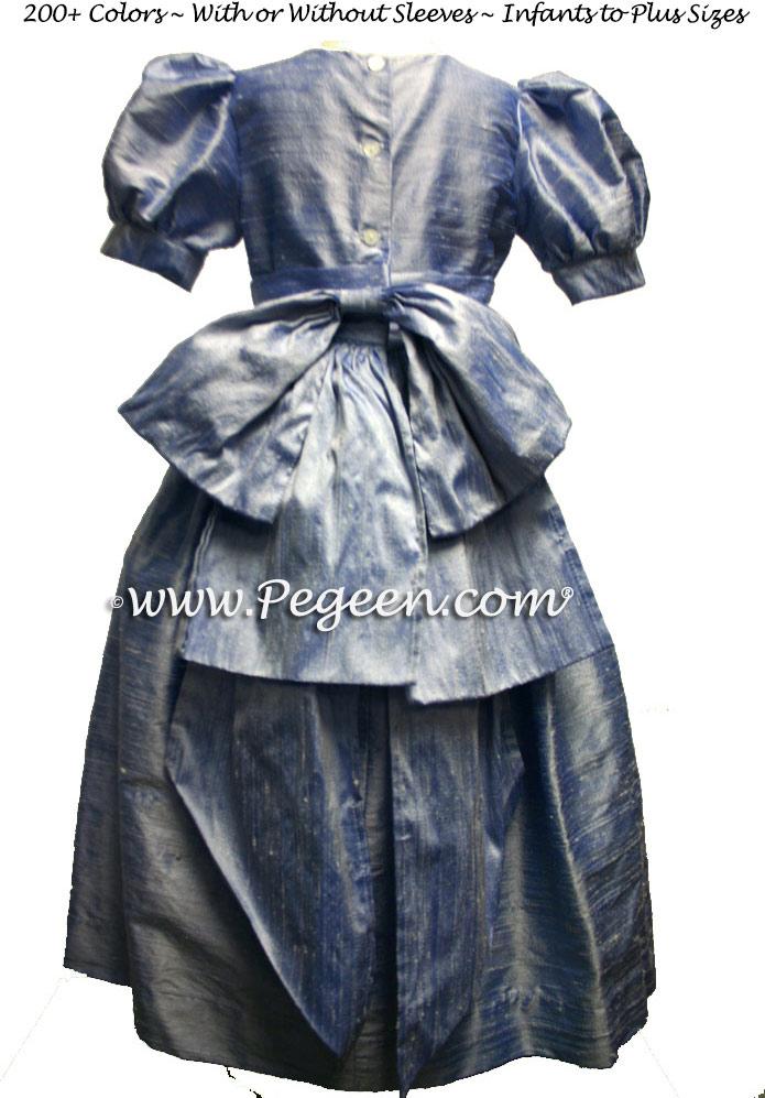 Denim Blue flower girl dresses