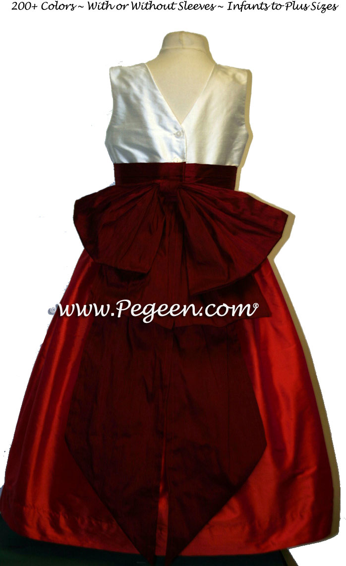 FIRE RED-ORANGE and CRANBERRY flower girl dresses