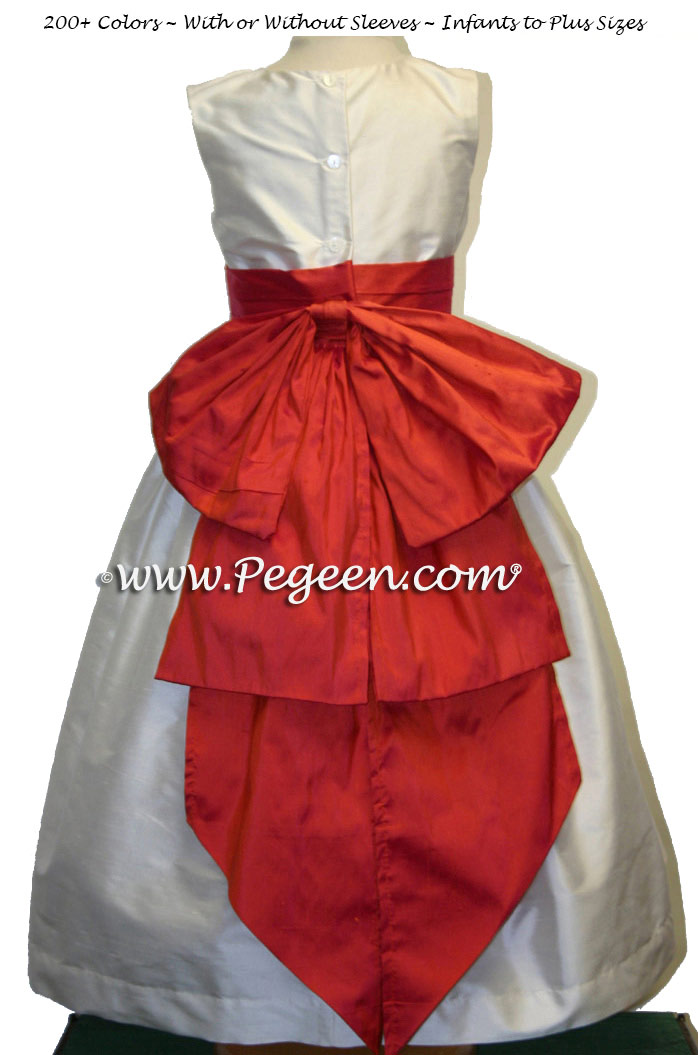 Orange Fire and Ivory Silk flower girl dress with Cinderella Bow
