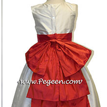 Orange fire Silk flower girl dresses