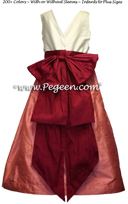 SALMON FLAME AND CRANBERRY FLOWER GIRL DRESSES by PEGEEN Style 345 with V-Back