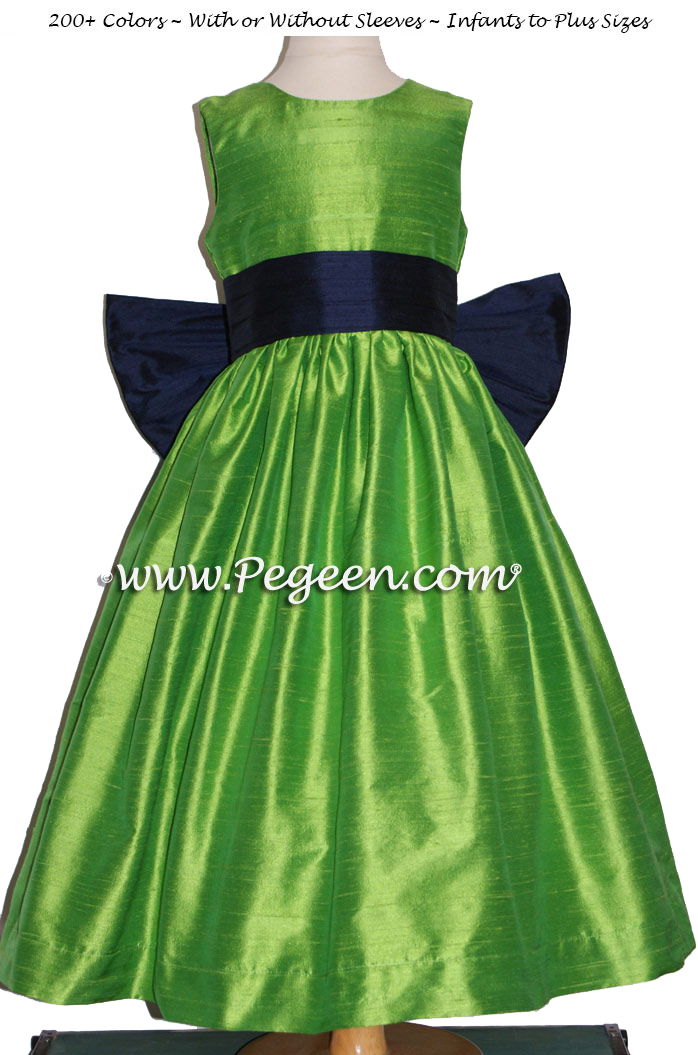 Flower girl dresses in key lime and navy silk - Style 345| Pegeen