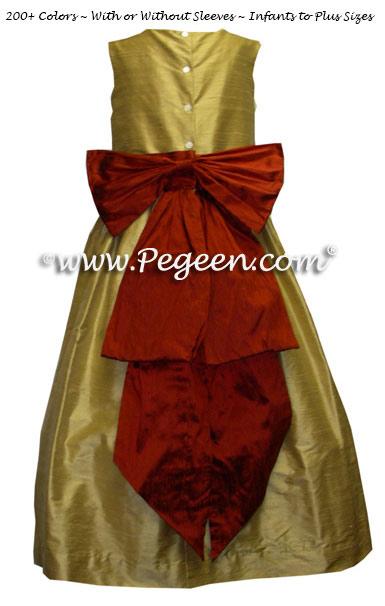 Mountain fall and Spun Gold jr bridesmaid dress