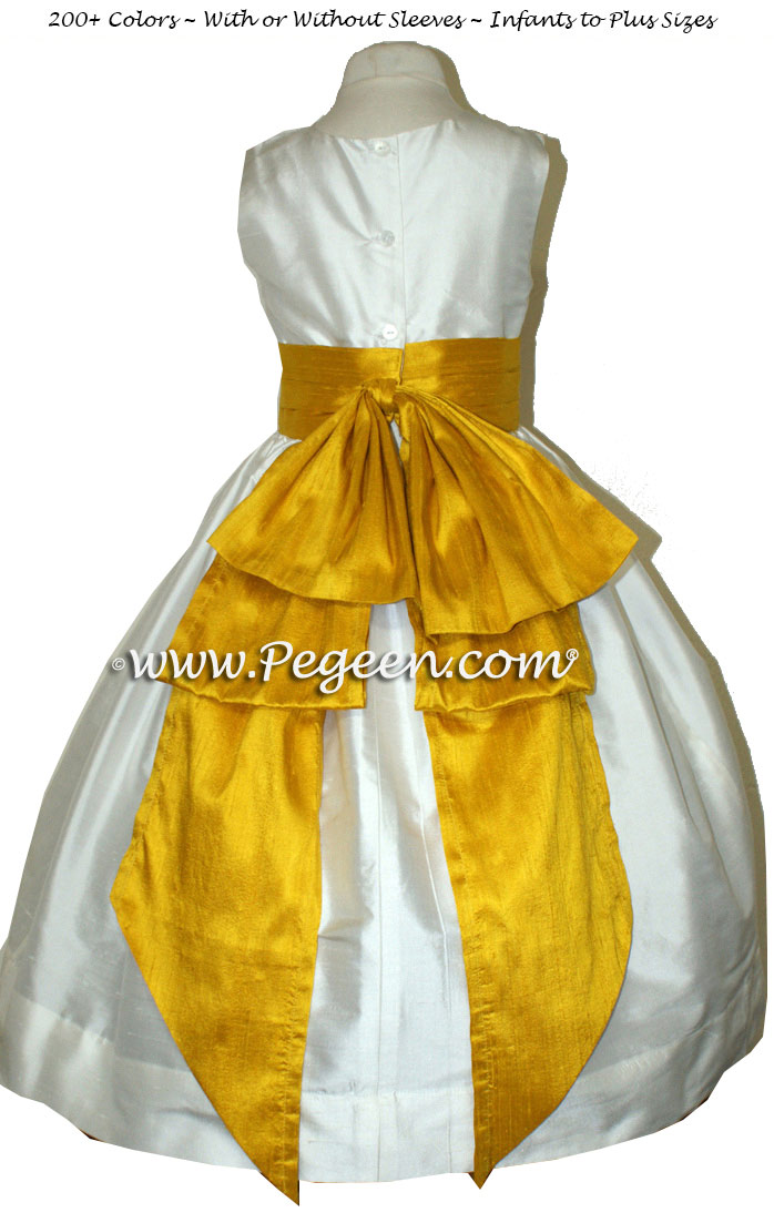 Flower girl dress in Goldenrod and Ivory silk with bolero jacket | Pegeen
