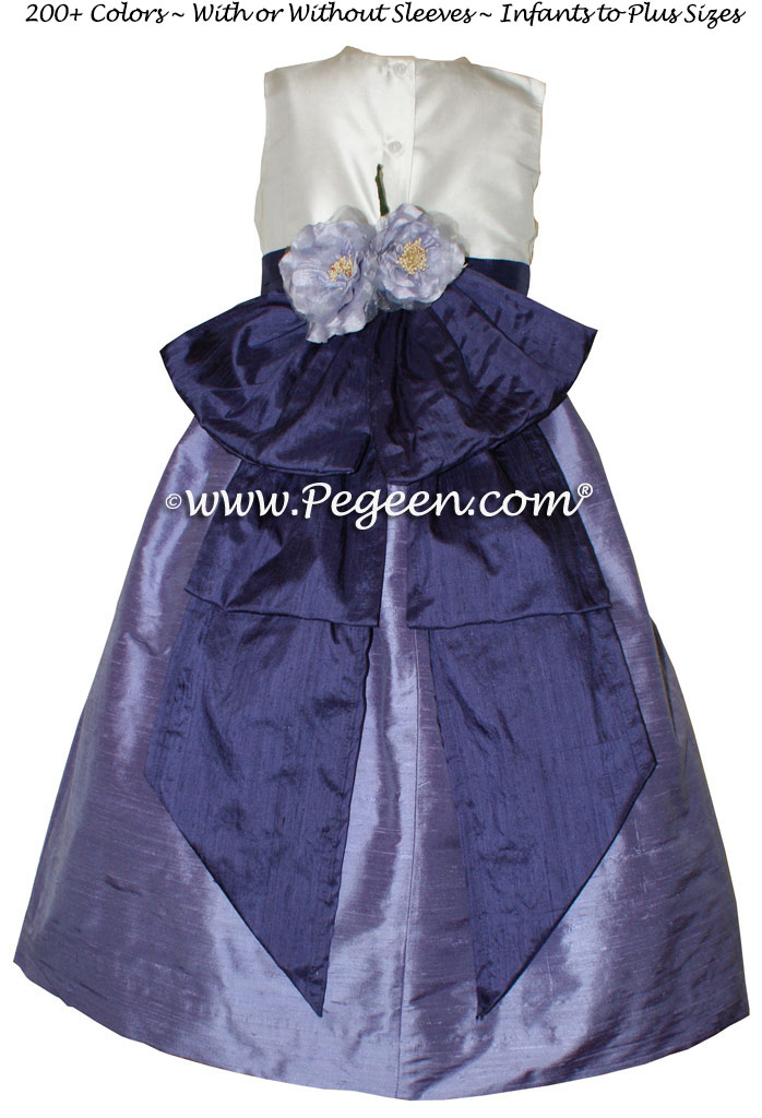 Periwinkle and grape silk flower girl dress