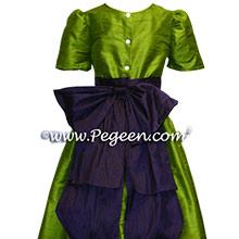 grass green and deep amethyst flower girl dresses