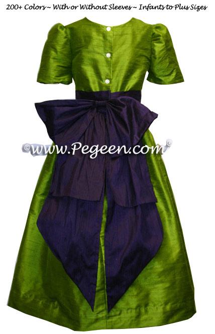 Grass green and grape (purple) flower girl dresses