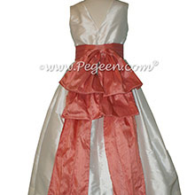New Ivory and Coral Rose flower girl dresses Style 345 by Pegeen