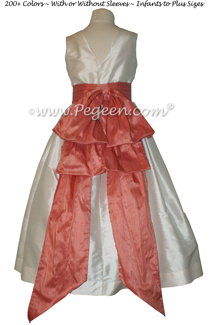 Flower Girl Dress in New Ivory and Coral Rose Style 345 | Pegeen