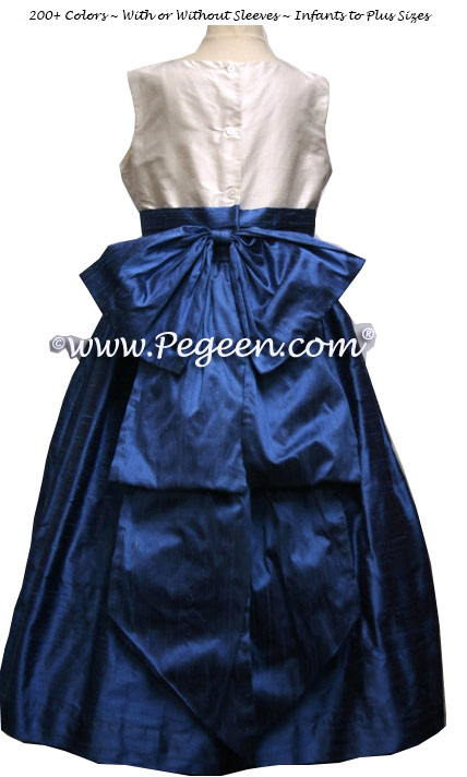Blue and white custom silk flower girl dress to match J Crew bridesmaids dresses