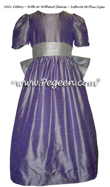Custom flower girl dresses in Victorian purple and Platinum gray