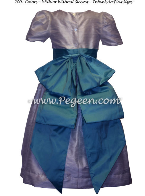 Lilac and tahiti teal silk FLOWER GIRL DRESSES