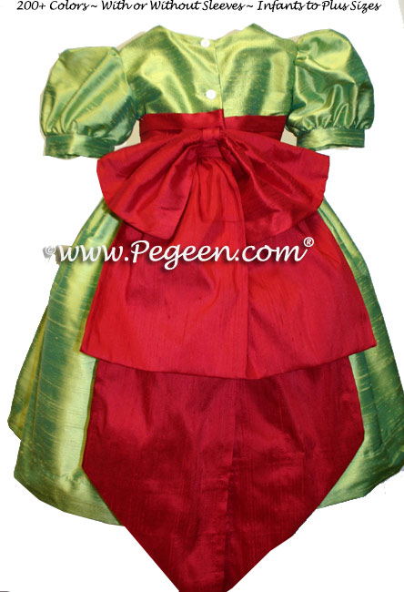 Lime green and Christmas red silk infant flower girl dresses