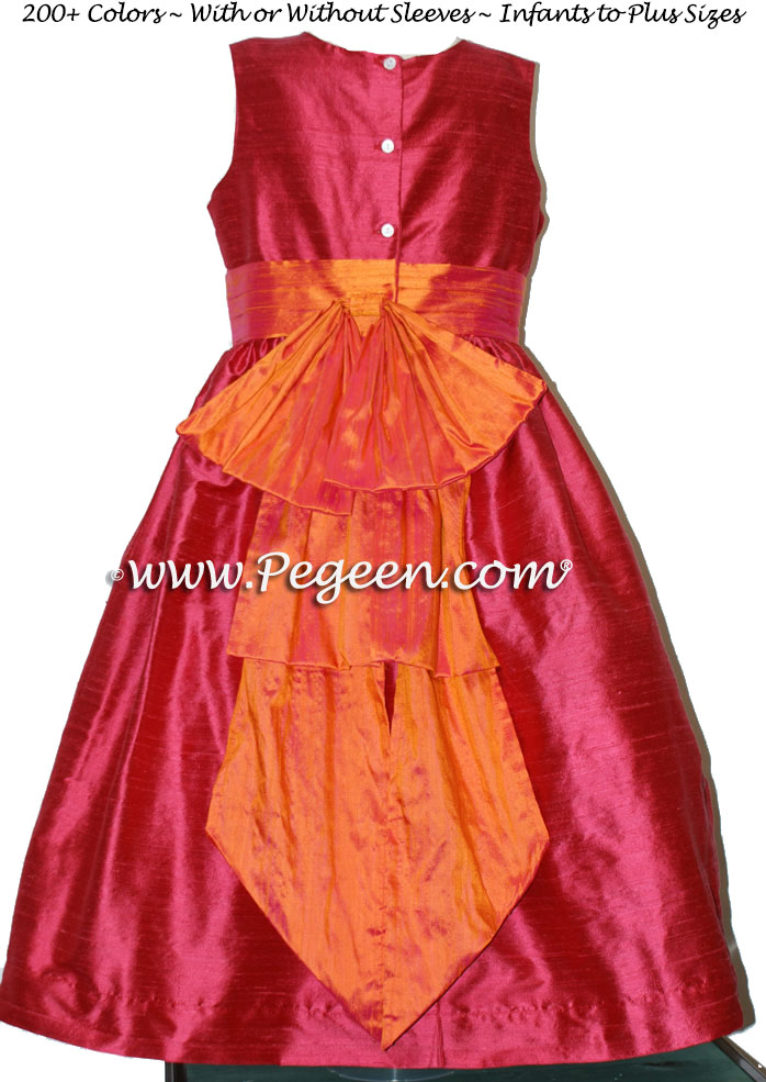 Flower Girl Dresses in Lipstick Pink and Mango