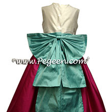 fuschia and tiffany blue silk flower girl dresses