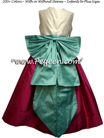 Magenta Pink and Tiffany Blue Junior Bridesmaids Dress with Cinderella Bow