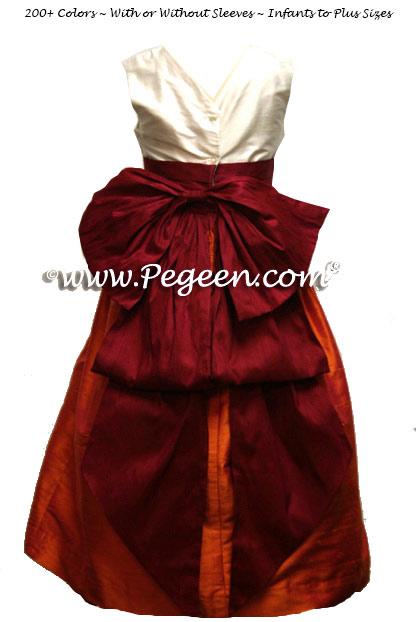 Mango orange and Beauty red silk flower girl dresses