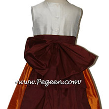 PUMPKIN ORANGE AND BURGUNDY RED flower girl dresses