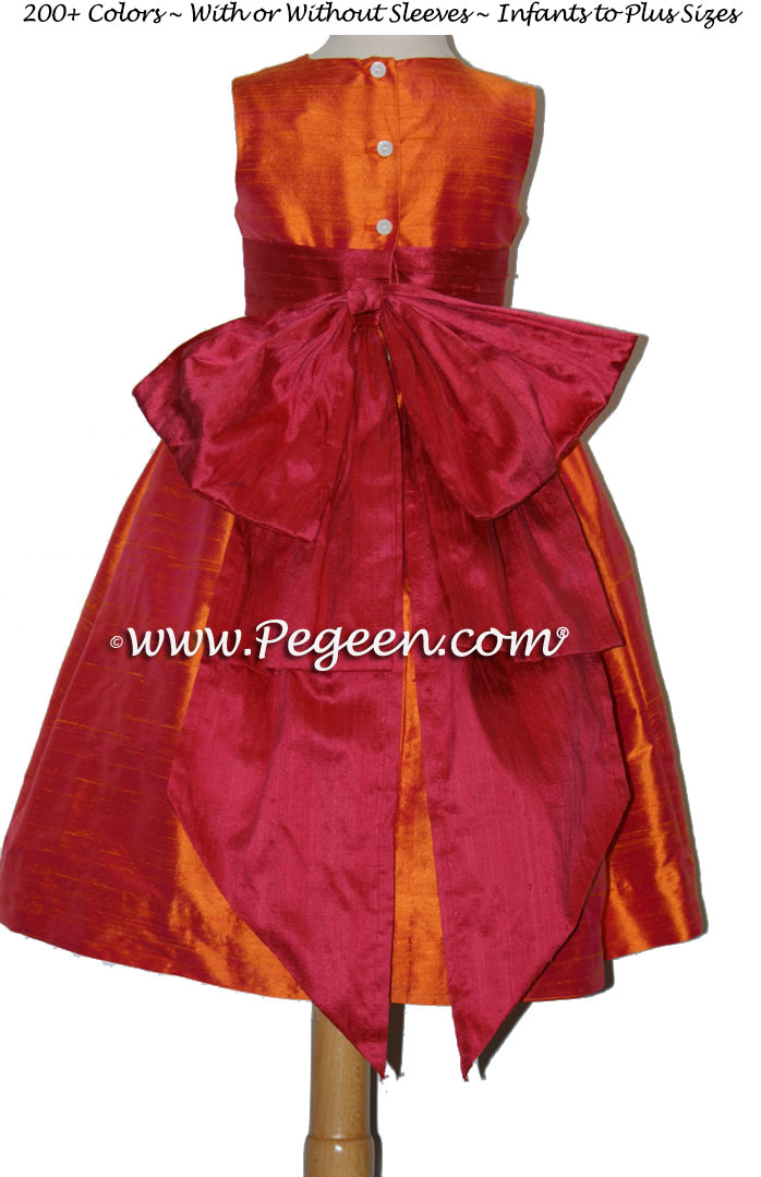 Flower Girl Dresses in Mango Orange and Cranberry Red