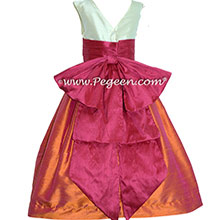 Flower Girl Dresses in Lipstick Pink, Mango, and Bisque BY PEGEEN