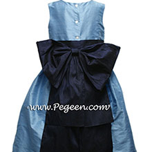 Medium blue and navy flower girl dresses