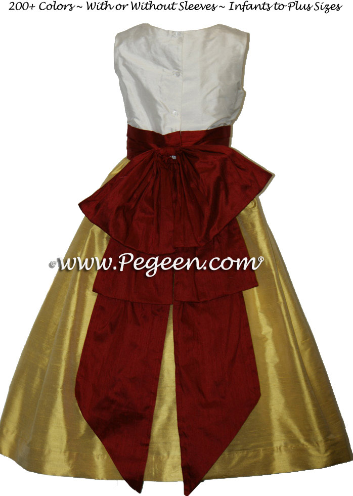MUSTARD AND CRANBERRY SILK FLOWER GIRL DRESSES