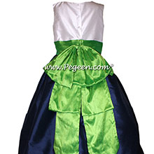 Navy and Key Lime and Antique White Silk Flower Girl Dresses by PEGEEN Style 345