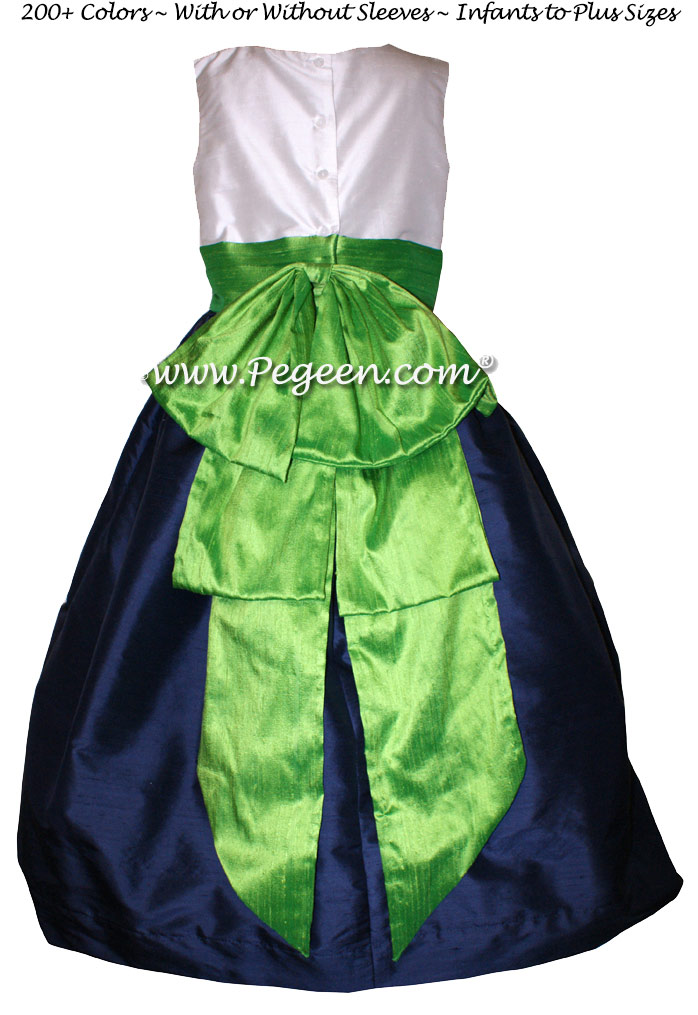 Navy Silk with antique white bodice and Key Lime Green silk Flower Girl Dresses