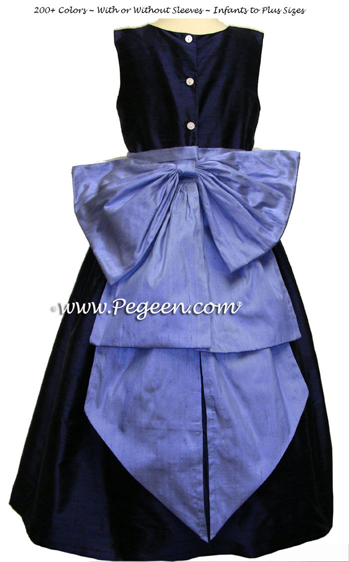 Navy and ocean blue sash flower girl dresses