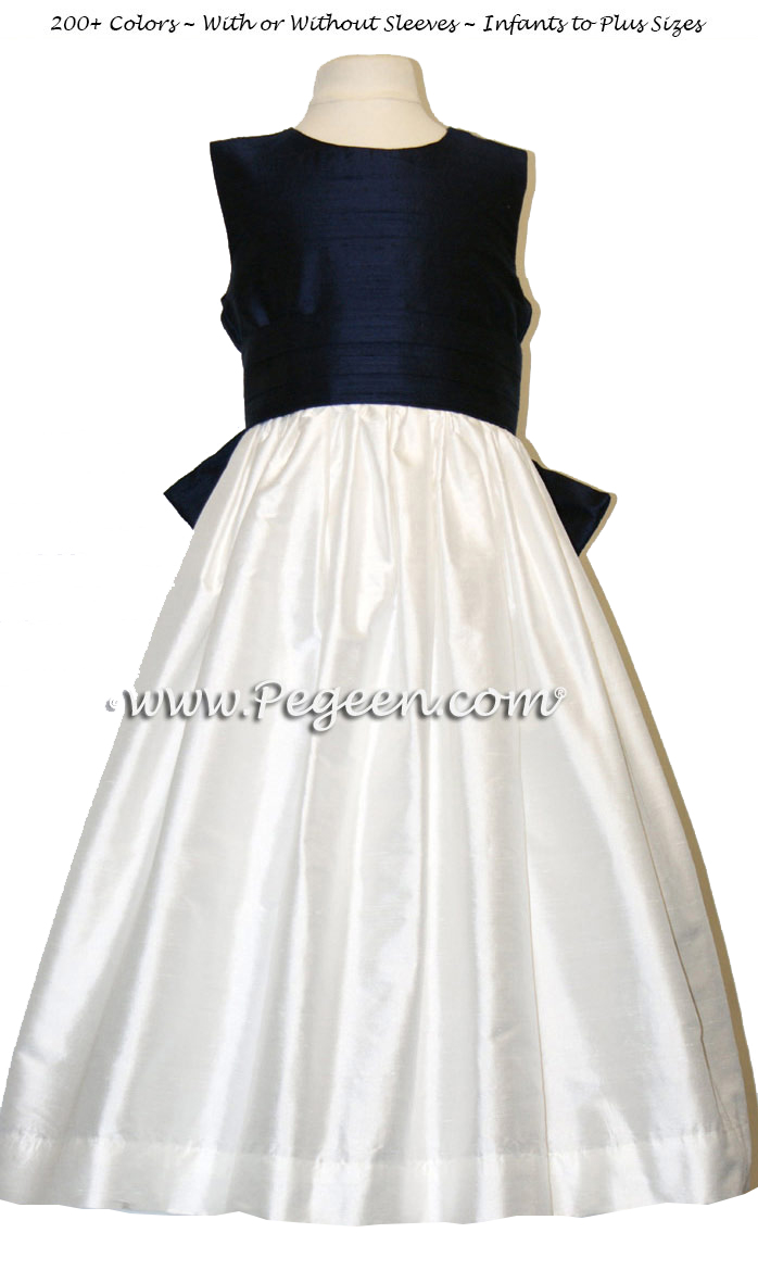 Custom flower girl dress in white and navy silk with V-Back | Pegeen
