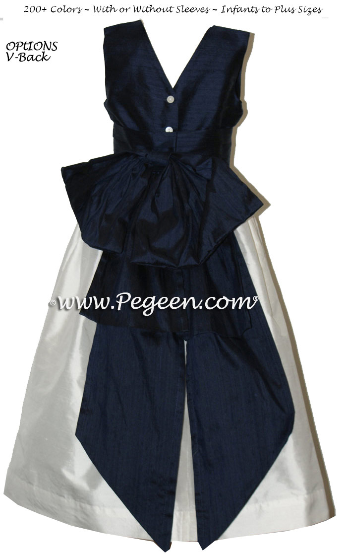 Custom flower girl dress in white and navy silk with V-Back   Pegeen