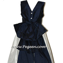 NAVY AND WHITE flower girl dresses