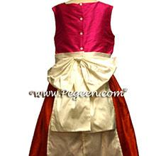 shock pink and mango orange junior bridesmaids dresses